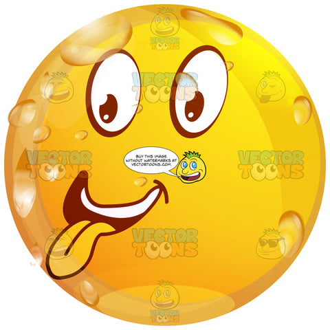 Sticking Out Tongue, Making Silly Face Wet Yellow Smiley Face Emoticon Looking Left