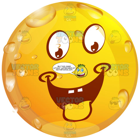 Lustful, Desiring Wet Yellow Smiley Face Emoticon With Panting Tongue On Grey Square Metal Plate Tilted Right
