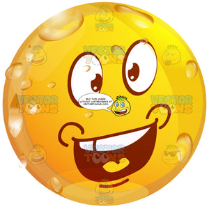 Ecstatic Wet Yellow Smiley Face Emoticon With Smiling Wide Open Mouth, Upper Teeth Showing, Wide Open Eyes