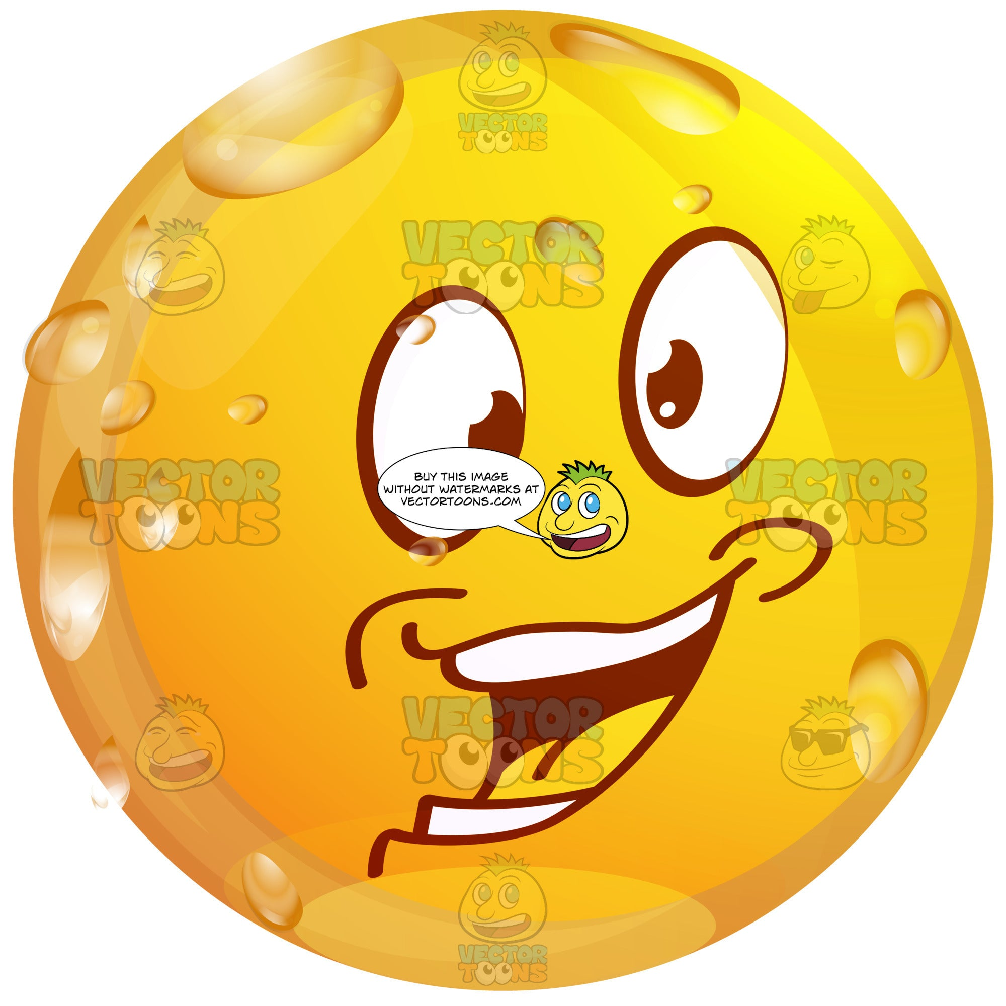 Excited Wet Yellow Smiley Face Emoticon With Strong Lower Lip, Dimples Looking Left