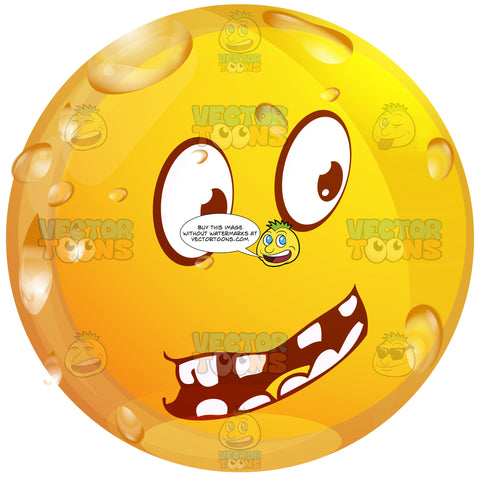 Questioning Wet Yellow Smiley Face Emoticon With Block Teeth, Looking Right