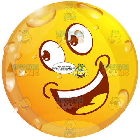 Persuasive Looking Wet Yellow Smiley Face Emoticontilted Head, Eyes Looking Up And Left