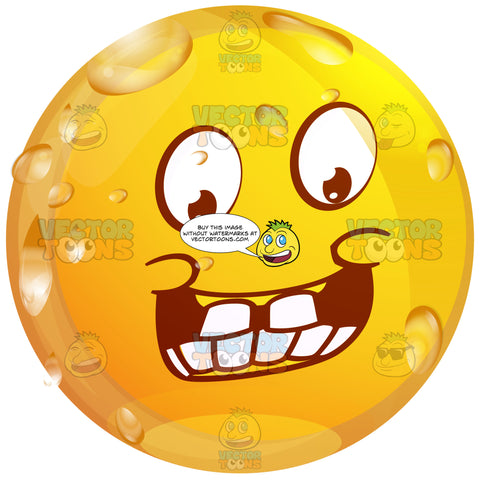 Giddy Wet Yellow Smiley Face Emoticonwith Big Block Teeth, Large Grin And Raised Eyebrows