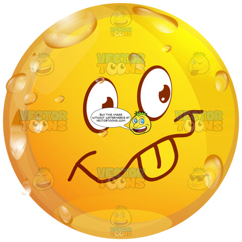Playful Wet Yellow Smiley Face Emoticon Sticking Out Tongue, Smile, Happy