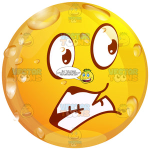 Scared Wet Yellow Smiley Face Emoticon Grinding Teeth