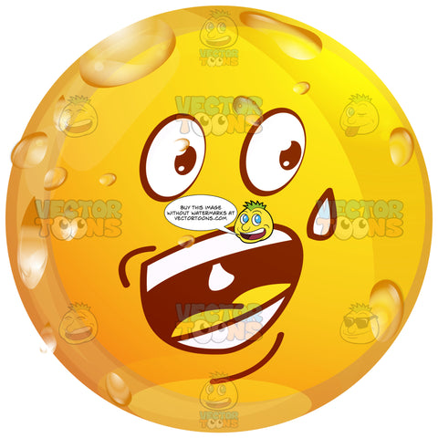 Sweating, Nervous, Wet Yellow Smiley Face Emoticon Wide Open Mouth,