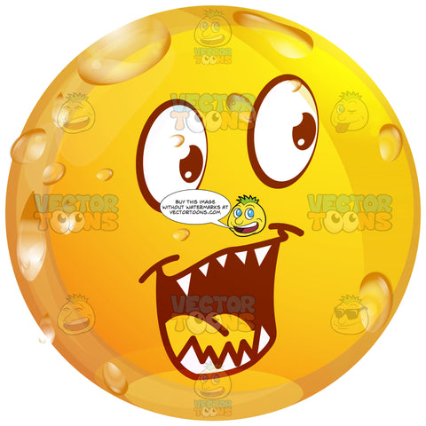 Pointy Toothed, Evil Looking Wet Yellow Smiley Face Emoticon With Arched And Downward Eyebrows