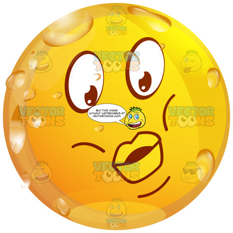 Puckered Lipped Wet Yellow Smiley Face Emoticon With Puffy Cheeks, Sour Expression