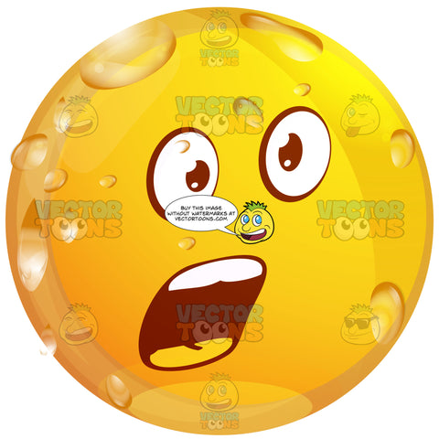 Surprised Wet Yellow Smiley Face Emoticon With Open Mouth And Raised Eyebrows In Surprise