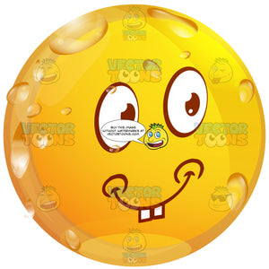 Playful, Flirty Wet Yellow Smiley Face Emoticon With Dimples And Buck Teeth