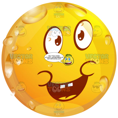 Apologizing Wet Yellow Smiley Face Emoticon With Open Mouth, Buck Teeth, Lowered Eye Brows, Saying Sorry