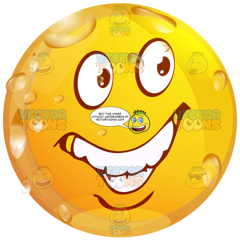 Deceitful Wet Yellow Smiley Face Emoticon Looks Sly, Up To No Good, Looking Over Shoulder, Right, Huge Grin