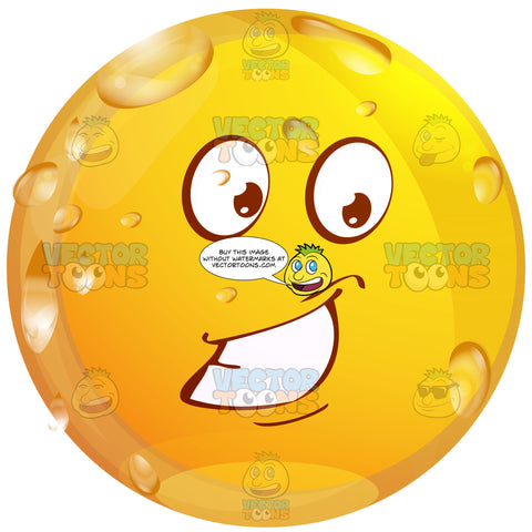 Self-Assured Confident Wet Yellow Smiley Face Emoticon With Strong Smile, Full Teeth, Strong Chin, One Lowered, One Raised Eyebrow