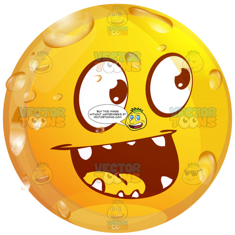 Laughing Wet Yellow Smiley Face Emoticon With Pointy Teethy, Wide Open Mouth, Unibrow