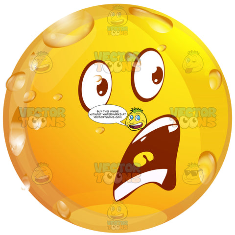 Startled Wet Yellow Smiley Face Emoticon With Open Mouth In Frown, Upper And Lower Teeth