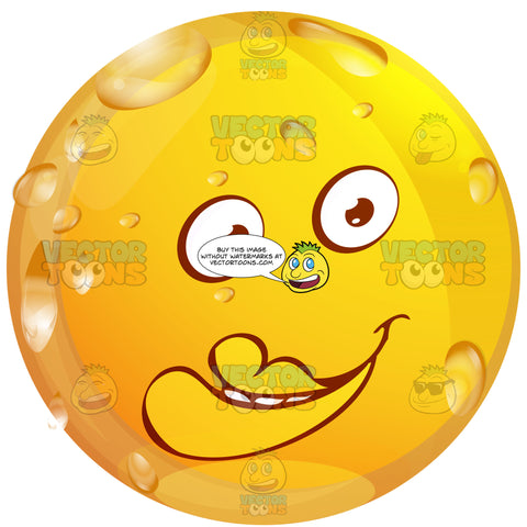Big Red Lipped Wet Yellow Smiley Face Emoticon With Slight Smile, Small Round Eyes