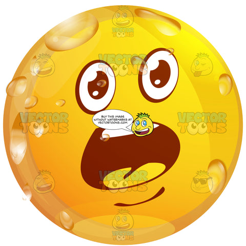 Startled Wet Yellow Smiley Face Emoticon With Wide Open Mouth, Raised Eyebrows In Amazement