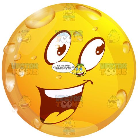 Cheerful, Friendly Talkative Wet Yellow Smiley Face Emoticon With Wide Open Mouth, Straight Upper Teeth, Smile, Looking Right, Raised Eyebrows
