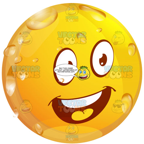 Thrilled Wet Yellow Smiley Face Emoticon With Open Mouth, Red Tongue, Raised Eyebrows And Straight White Teeth, Looking Right