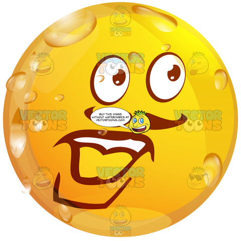 Mustache Strong Manwet Yellow Smiley Face Emoticon With Strong Lower Chin, Lip, Looking Right
