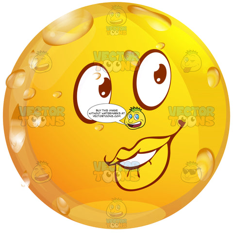 Come Hither, Flirty Wet Yellow Smiley Face Emoticon Full Lips, Right Eyebrow Raised, Looking Right