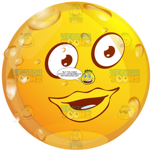 Full Red Lipped Female Wet Yellow Smiley Face Emoticon Looking Right