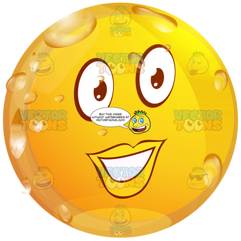 Pretty Female Red Lipped Wet Yellow Smiley Face Emoticon Looking Straight Ahead