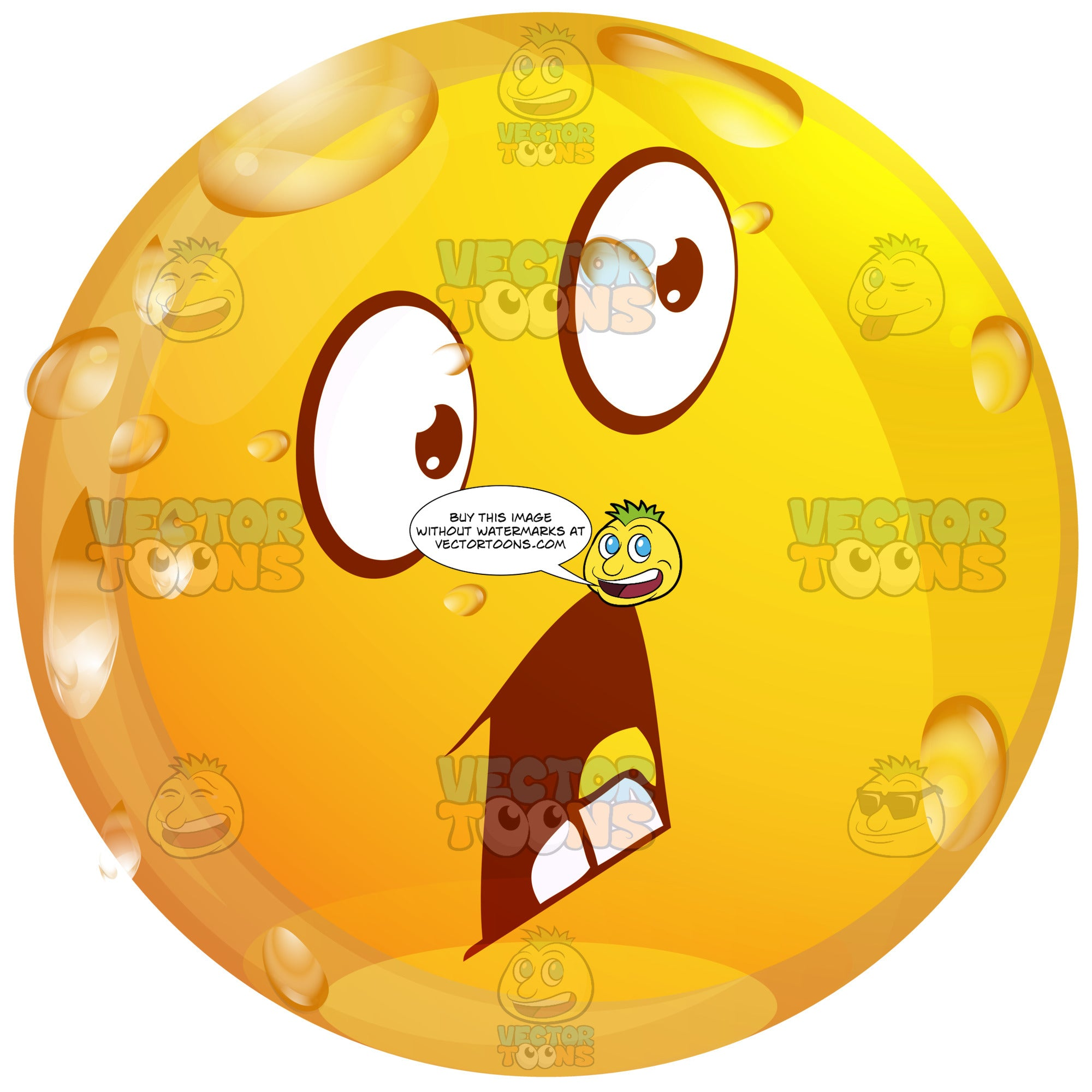 Panicked Wet Yellow Smiley Face Emoticon Open Mouth Raised