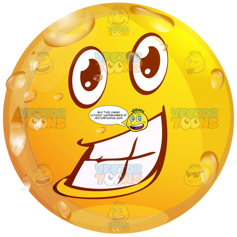 Thrilled Wet Yellow Smiley Face Emoticon Showing Full Teeth, Huge Smile, Lower Lip, Wide Eyes And Raised Eyebrows