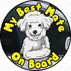 White Dog Best Mate On Board Pin