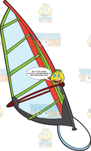 A Red And Green Windsurf Board And Sail