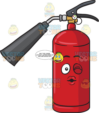 Winking Fire Extinguisher Blowing A Kiss Emoji
