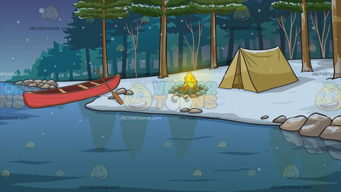 Winter Camping Site Background