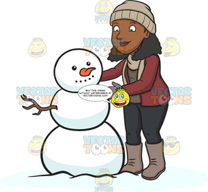 A Black Woman Building A Snowman