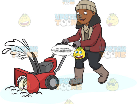 A Black Woman Using A Snow Blower To Clean The Road