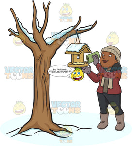 A Black Woman Pouring Bird Food On A Bird House