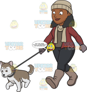 A Black Woman Walking Her Siberian Husky Puppy