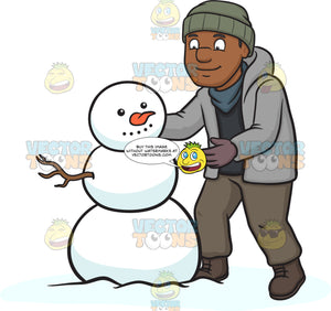 A Black Man Building A Snowman