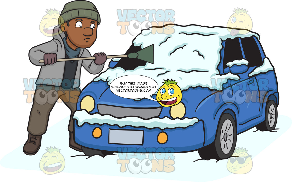 A Black Man Cleaning The Snow Off His Car – Clipart ...