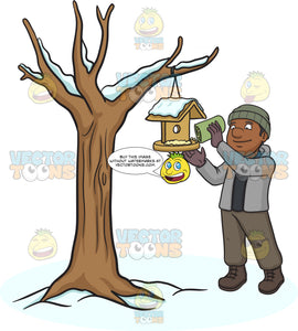 A Black Man Pouring Bird Food On A Bird House