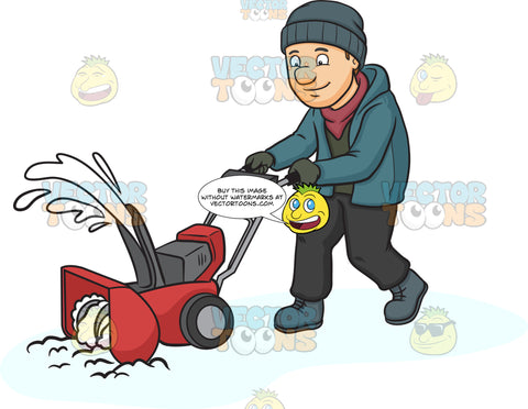 A Man Using A Snow Blower To Clean The Road