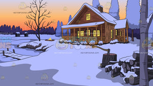 Winter Lake House Background