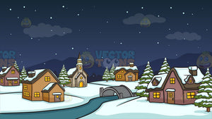 Winter Night In A Small Town Background