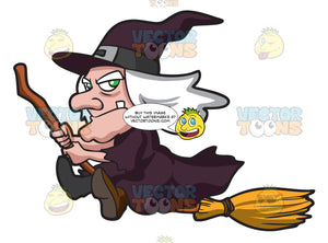 An Old Witch Riding A Broom