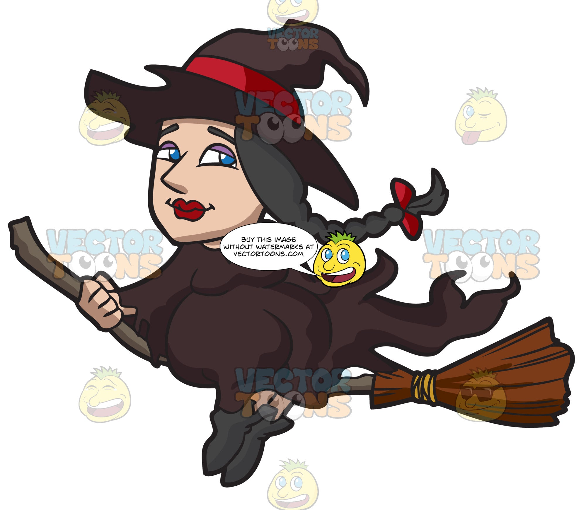 A Witch Riding A Broom