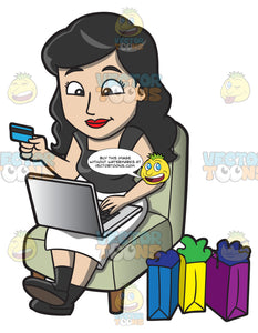 A Woman Shops Online Using Her Credit Card