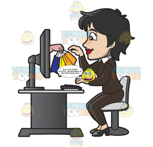 A Woman Getting Her Online Purchases From Her Monitor