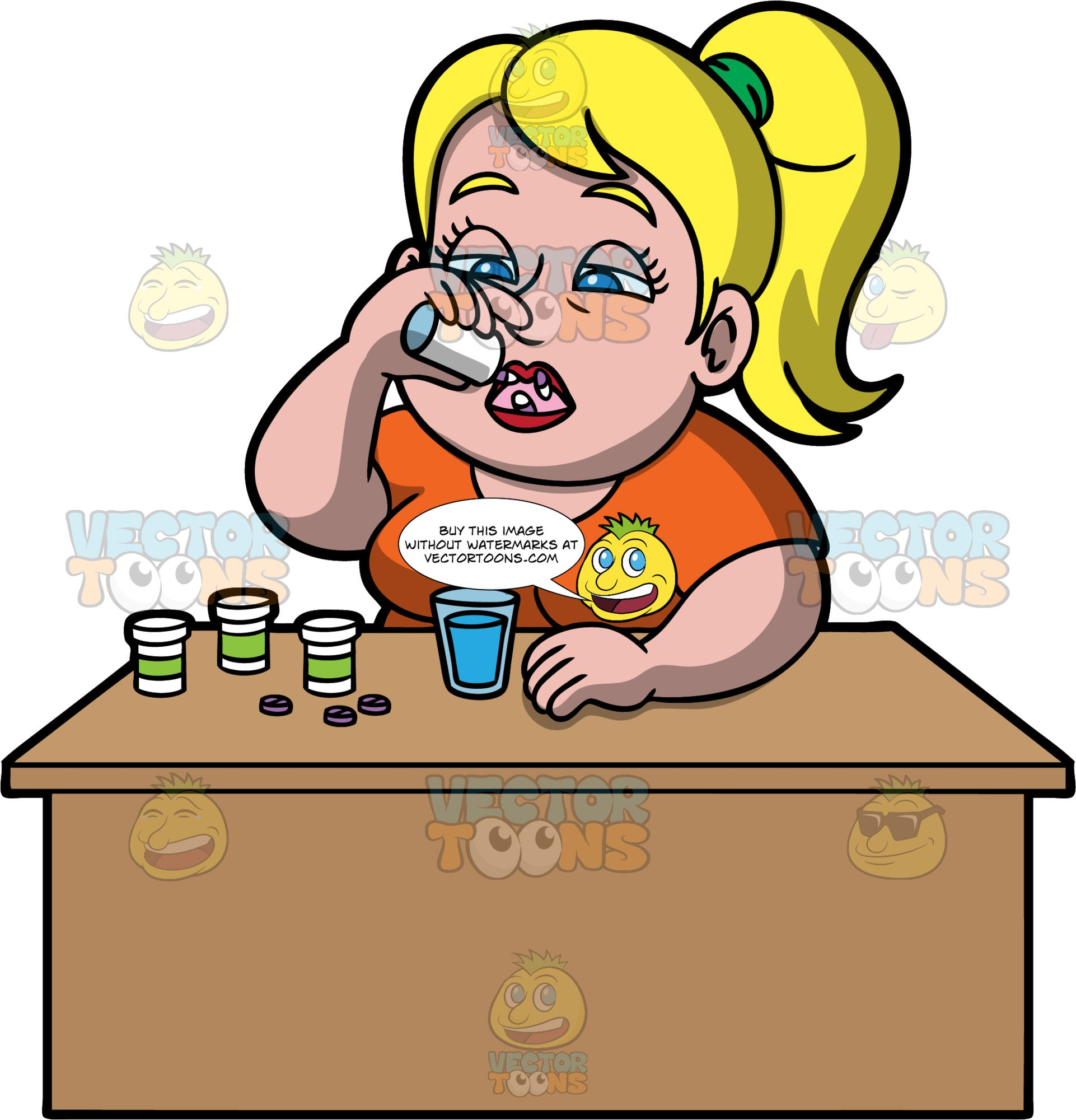 Pat Emptying A Bottle Of Pills Into Her Mouth. A blonde woman wearing an orange shirt, sitting at a table and  tossing a bunch of pills into her mouth