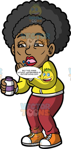 Jackie Taking A Bunch Of Pills. A woman wearing burgundy pants, a yellow shirt, and orange sneakers, holding a pill bottle in one hand and throwing a bunch of pills into her mouth with the other hand