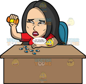 Connie Emptying A Bottle Of Pills. An Asian woman wearing a red shirt, sitting at a desk holding an empty pill bottle in one hand after emptying a bunch of blue and white pills onto the desk